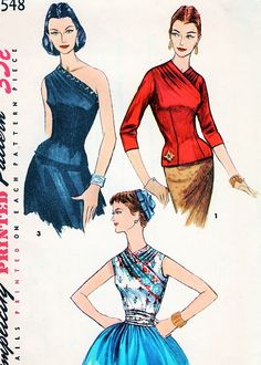 1950s Simplicity 1548 Vintage Sewing Pattern GORGEOUS EVENING One Shoulder Blouse, Daytime Surplice Overblouse and Cummerbund Stunning Designs Bust 32