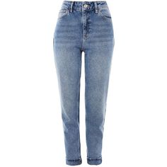 Topshop Moto Mid Blue Mom Jeans ($53) ❤ liked on Polyvore featuring jeans, bottoms, blue, topshop, rolled jeans, retro high waisted jeans, retro jeans, rolled up jeans and highwaist jeans