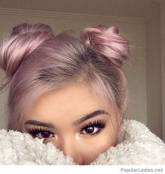 very-sweet-pink-hair-color-and-little-buns