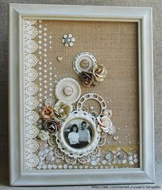 """PrachuPrachuFinnabair Framed """"Mixed Media Canvas"""" by Delaina Burns for Prima Finnabair - Wen.Finnabair Framed """"Mixed Media Canvas"""" by Delaina Burns for Prima Finnabair - Wendy Schultz ~ Art CanvasEvening Sleigh - Sam Timm Christmas Scenes, Doilies Crafts, Burlap Crafts, Diy Crafts, Doily Art, Button Crafts, Button Art Projects, Vintage Crafts, Home And Deco, Mixed Media Canvas"""