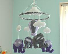 Purple Baby Mobile  Elephant Mobile  Baby Mobile  Nursery