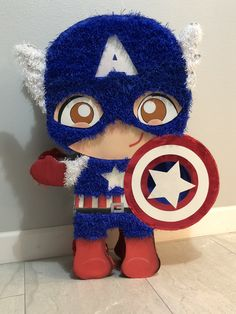 Baby Captain America Piñata Avengers Birthday, Superhero Birthday Party, 4th Birthday Parties, Captain America Party, Captain America Birthday, Hulk Party, Birthday Pinata, Toy Cars For Kids, Baby Shower