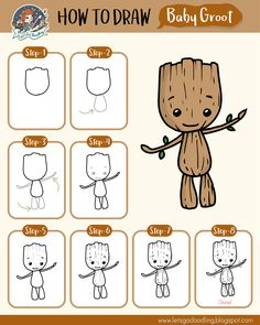 Learn how to draw a Baby Groot with these super easy steps Great for kids and beginners! You will need a paper or sketchbook, pencil, e… The post Learn how to draw a Baby Groot with these super ea… appeared first on Best Pins for Yours - Drawing Ideas Easy Disney Drawings, Easy Doodles Drawings, Easy Doodle Art, Easy Drawings For Kids, Simple Doodles, Drawing For Kids, Cute Drawings, Learn Drawing, How To Draw Kids