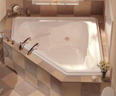 """Looking for great deals on """"Jacuzzi Gallery Corner Bathtubs""""? Compare prices from the top online plumbing retailers. Save big when purchasing Jacuzzi Corner bathtubs. Ideal Bathrooms, Beautiful Bathrooms, Small Bathroom, Master Bathroom, Corner Soaking Tub, Corner Tub, Soaking Tubs, Jacuzzi Bathroom, Home"""