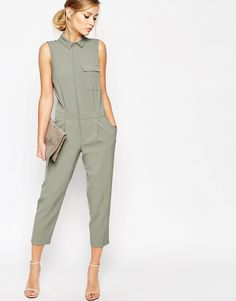 Image 4 of ASOS Sleeveless Shirt Detail Jumpsuit