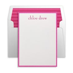 Fuchsia and White Personalized Note Card by Luscious Verde Cards Wedding Invitation Design, Wedding Stationery, Personalized Stationery, Cute Gifts, Note Cards, Stationary, Notes, Gift Ideas, Paper