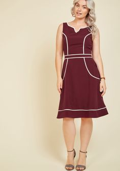 A Lot to Author A-Line Dress in Burgundy. From wayfaring journalist to wondrous fashionista, this burgundy dress exudes your expertise across the board. #red #modcloth