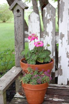 Flower pots on a distressed bench. Perfect for my potting shed.  The Inhales & Exhales of DewKist