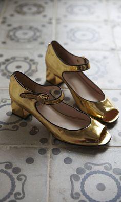 Gold Mary Janes - Plümo Ltd