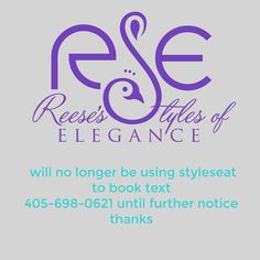 Please share this info. You will no longer be able to book appointment  on styleseat  you can see info  and prices for a while until further notice.  Thank you. #reesethepeacockstylist  Stay connected.  http://ift.tt/1tF8Tk5  405-698-0621