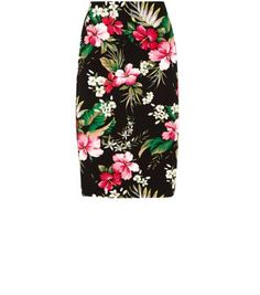 Black Tropical Print Pencil Skirt