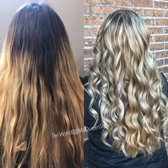 Before and after blonde balayage by Teri Ward @ J McQueen Salon Cincinnati call 347-7400 or text 478-3570