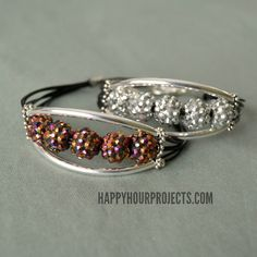 10-Minute Glittering Tube Bead Bracelet Video Tutorial at www.happyhourprojects.com