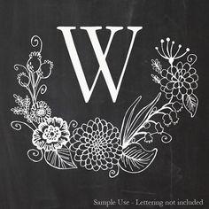 Handdrawn Floral Wreath Digital Stamp by Anthologyarts on Etsy