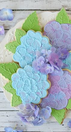 hydrangea cookies...  www.tablescapesbydesign.com https://www.facebook.com/pages/Tablescapes-By-Design/129811416695