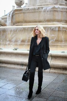 New blog post on Adenorah, Anne Laure is wearing our Eddie bag in a black total look ! www.annefontaine.com #annefontaine #fashion