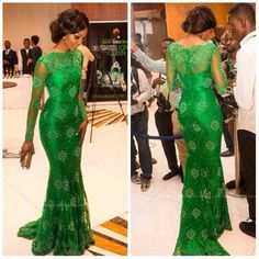 Emerald Green formal dress with Nigerian printed lace