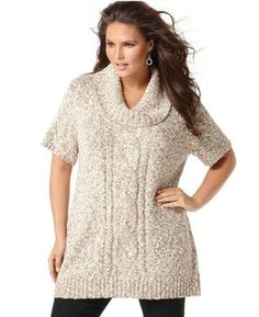 INC International Concepts Plus Size Sweater, Short Sleeve Marled Cabled Tunic Plus Size Sweaters, Sweaters For Women, Plus Size Pullover, Tunics Online, Sweater And Shorts, Tunic Tops, Clothes, Shopping, Beautiful