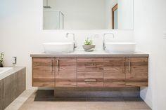 Home - Champagne Finish Wooden Bathroom Vanity, Roller Doors, What Is Trending Now, Built In Furniture, Decorative Panels, Cabinet Makers, Panel Doors, Classic White, Double Vanity