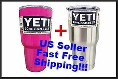 NEW 2 Pack 1x Yeti 30oz, 1x Pink 20oz Rambler Stainless Steel Tumbler Insulated
