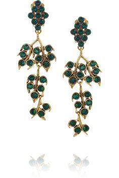 Oscar de la Renta Gold-plated crystal vine clip earrings NET-A-PORTER.COM