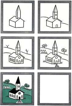 How to Draw a Church Kids Drawing Lesson.