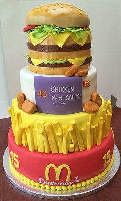My aunt made this she is so talented Mcdonalds cake and cupcakes
