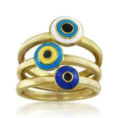 Set of Three Enamel Evil Eye Rings in 18kt Gold Over Sterling Silver