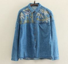 Coconut trees embroidery literary Turn-down collar long sleeve denim shirt blouse girl vintage