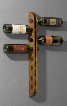 Wall mounted walnut wine rack by PiserDesigns on Etsy Cnc Projects, Woodworking Projects, Hanging Wine Rack, Wine Racks, Wood Crafts, Diy Crafts, Wall Anchors, Wine Storage, Wine Cellar
