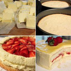 Lemon-Strawberry Cake with Lemon Buttercream, lemon curd and sliced strawberries.