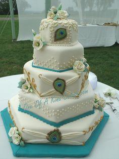 @KatieSheaDesign Likes--> #Cake #wedding cake with peacock detail