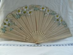 Vintage ivory bone hand painted shaped ladies fan. Victorian, Edwardian, Art Deco, Wedding, bridal. Steam punk.