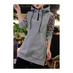 Rotita Printed Long Sleeve Grey Drawstring Hoodie ($32) ❤ liked on Polyvore featuring tops, hoodies, grey, long sleeve hoodie, gray hoodie, hooded pullover sweatshirt, cotton pullover hoodie and gray hooded sweatshirt