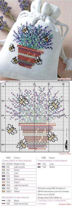 Punto De Cruz Sachet 'Lavander bag' - Biskornyu y otros 'кривульки' - el País de las Mamás - Саше 'Lavander bag' - Бискорню и другие 'кривульки' - Страна Мам Cross Stitch Bookmarks, Mini Cross Stitch, Cross Stitch Cards, Cross Stitch Flowers, Cross Stitching, Cross Stitch Embroidery, Embroidery Patterns, Hand Embroidery, Cross Stitch Designs
