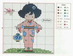 Chart for Japanese girl cross stitch  Other Japanese-themed charts available.