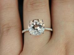 Eloise 10mm Size 14kt Rose Gold Round Morganite and Diamonds Cathedral…