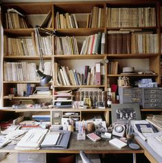 The Study at 2 Willow Road contains an important collection of architectural books. The desk is covered in papers that belonged to Erno Goldfinger. Library Bedroom, Writers Desk, Messy Desk, Desk Setup, Study Office, Black Decor, Desk Organization, Room Inspiration, Bookshelves
