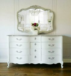 Pending! Free Shipping! Royal French Silver & White Glam Boudoir Chic Bedroom  Provincial Dresser Ni