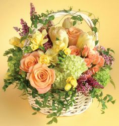 Mixed floral basket.