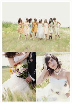 different floral bridesmaids dresses