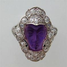 Edwardian amethyst cameo and diamond ring, circa 1910.