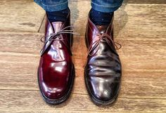 leffot: Old and new. Alden shell cordovan chukkas the boot on the right is 15 years old the one on the left is new. Both are awesome that's what great about quality footwear. (at Leffot) Alden Shoes, Cordovan Shoes, Alden Cordovan, Red Wing Boots, Mens Boots Fashion, Formal Shoes For Men, Fall Shoes, Cool Boots, Dream Shoes
