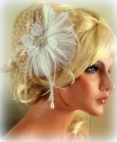 Bridal Fascinator  Vintage style bridal hair by kathyjohnson3