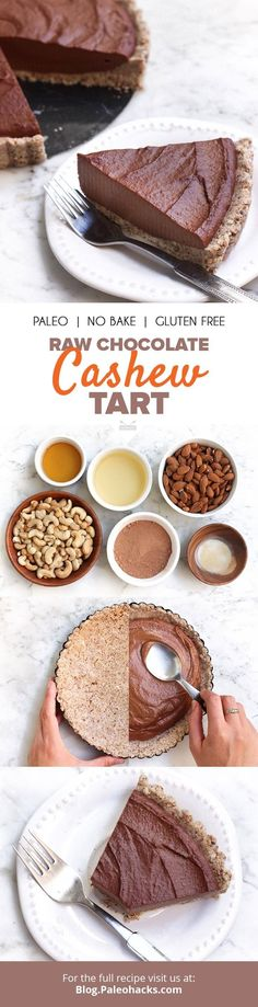 Raw Chocolate Cashew Tart #justeatrealfood #paleohacks
