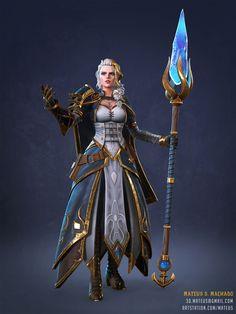 ArtStation - Jaina Proudmoore - Fanart, Mateus S. Fantasy Female Warrior, Fantasy Armor, Fantasy Weapons, Fantasy Girl, Woman Warrior, World Of Warcraft, Art Warcraft, Warcraft Characters, Fantasy Characters
