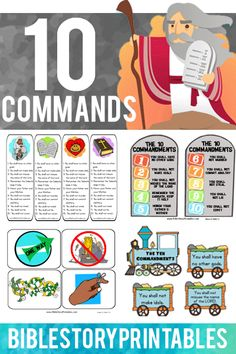Free Ten Commandment Bible Printables.  Games, Bookmarks, Classroom Activities, Coloring Pages, Take Home Bible Verses, Lapbooks and More.  Free from BibleStoryPrintables.com