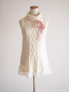 axes femme Cute Ribbon Turtle neck Knit OP Dress Sweet Kawaii Lolita Japan #AxesFemme #PeplumTunic #HarajukuLolitafashion