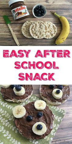 I love fun after school snack ideas for my kids, and this Three Bears Nutella Snack is a great idea. Using some common ingredients, I can easily build a fun bear face for my kids to enjoy. - Teaspoon of Goodness kids snacks Three Bears Nutella Snack Snacks Für Party, Lunch Snacks, Clean Eating Snacks, Fruit Snacks, Nutella Snacks, Nutella Recipes, Baby Food Recipes, Gourmet Recipes, Snack Recipes