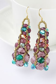 Long Earrings Beaded Teal Multicolored Dangle by BohemiaJewelry, $46.00